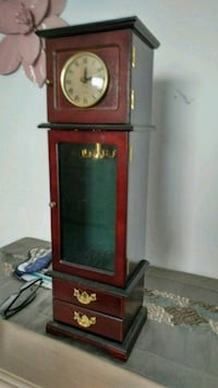 brown wooden jewelry box with working clock Montreal, H3A