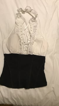 S White and black lace-up halter top