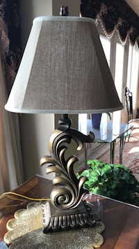 Brass-colored floral table lamp base with cone lampshade Oakville, L6M 0H1
