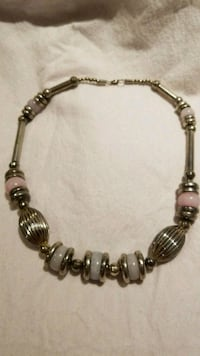 silver-colored beaded bracelet