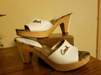 white and brown leather open toe wedges St Louis, 63150