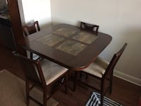 Square counter height wooden table with marble inserts + five chairs dining set Houston, 77077