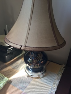 gray and brown table lamp