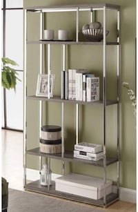 "Bookcase shelf, rustic-looking wood and chrome. Measurements in third photo. 72"" tall. Gently used, great condition   Washington, 20002"
