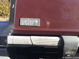 Weber Silver gas grill three burner Burgandy