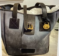 Gray w/ Black Handles Dooney & Burke Suede Satchel
