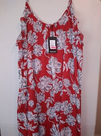 red and white floral scoop-neck sleeveless dress ATLANTA