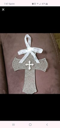 Glass scrolled cross wall hanging decoration