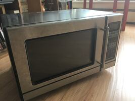 Grey microwave oven