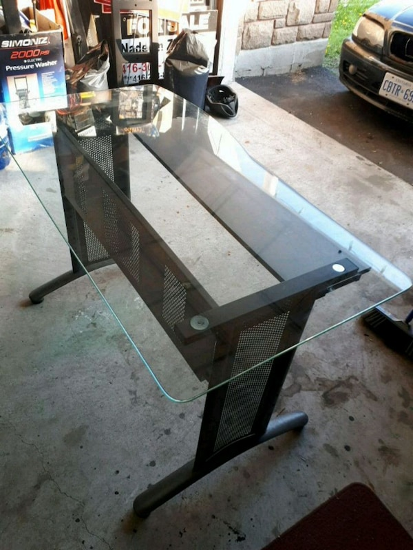 Glass Computer Desk metal frame