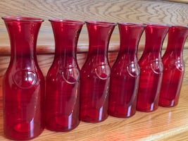 20 RED GLASS BOTTLES VASES CENTERPIECES WITH LED STRING LIGHTS