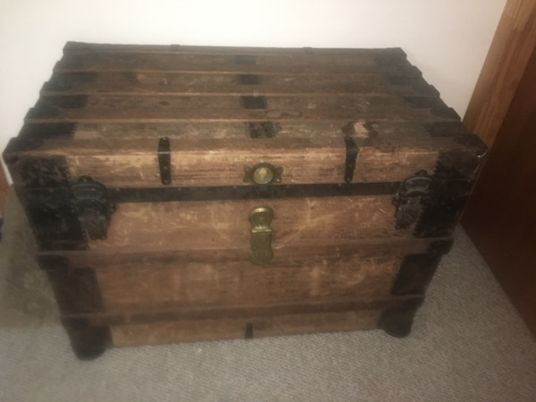 Old chest, In the family for a long time, there's 1941 newspaper inside which tells you it's been in our family for a long time, need room in the house so it must go