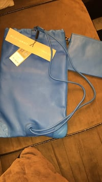 blue Burberry leather drawstring bag