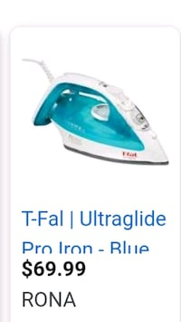 T-Fal Ultraglide Pro Iron Still in the box, and never used. Pickup $30 Edmonton, T5A 4A7