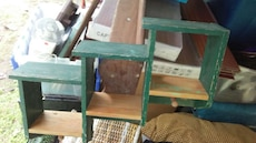 green and brown wooden 3-tier rack