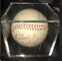 white and red baseball with signature 155 mi