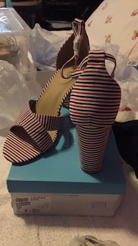 NEW!!! Red and blue stripe wedges.Size 10 Toronto, M9V 1K6
