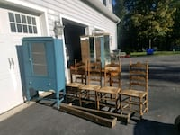 Blue cabinet;4 wooden chairs; desk;2mirrored stan Libertytown
