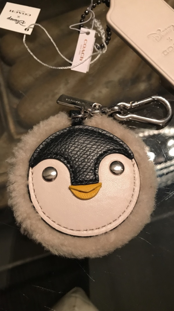 Coach Sherpa And Leather Penguin Keyfob