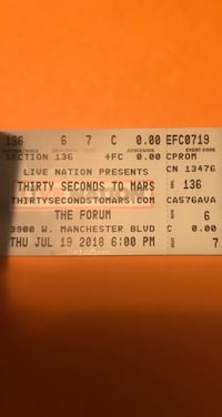 2 30 Seconds to Mars Tickets  West Covina, 91790