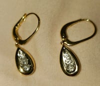 14K SOLID GOLD .23 CT DIAMOND LEVERBACK EARRINGS Pearl City, 96782