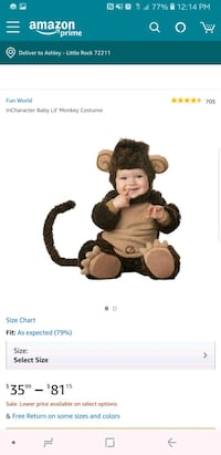 Baby Lil Monkey Costume Size:12 month Little Rock, 72211