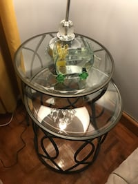 Round clear glass top table with brown wooden base Toronto, M6E 2L7