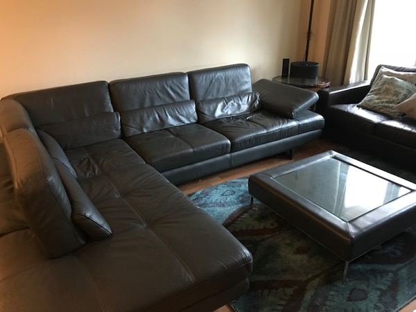 Milano Grey Leather Sectional Sofa Coffe Table
