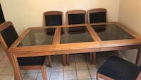 Brown wooden framed glass top table Anaheim