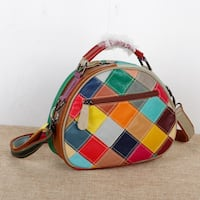 CAERLIFAB ALEXIMO MOSAIC PLAID OWL EMBOSSED HANDBAG IN MULTI COLOR