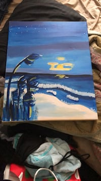 blue and white abstract painting Wilmington, 28401