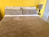 California King size bed with mattres With blanket, pillows, bedding