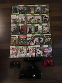 Xbox 360 console 256Gb with 2 controllers, Kinect  and 25 great games. Pick up only. Toronto, M6K 1E6