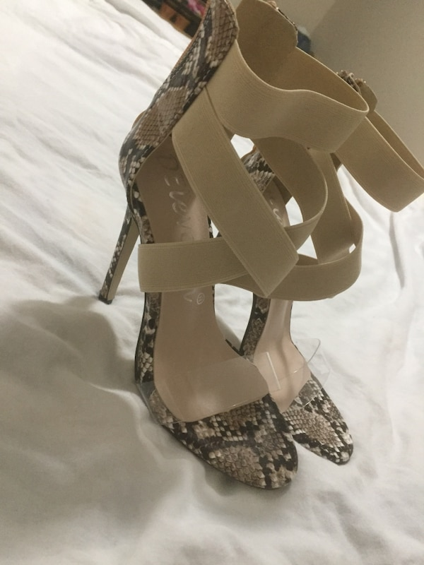 e942fa52ba6 Used pair of brown leather open toe ankle strap heels for sale in Coquitlam