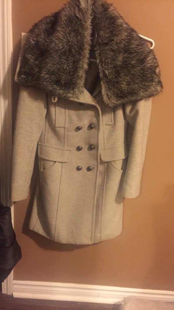 Women's gray wool fur coat Mexx