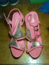 pair of pink leather open toe ankle strap wedges Sylvania, 30467