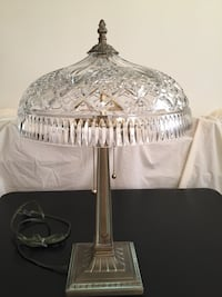"""Waterford Crystal (Style: Beaumont) electric lamp (12+""""W x 18+""""H) with brass base Arlington, 22204"""