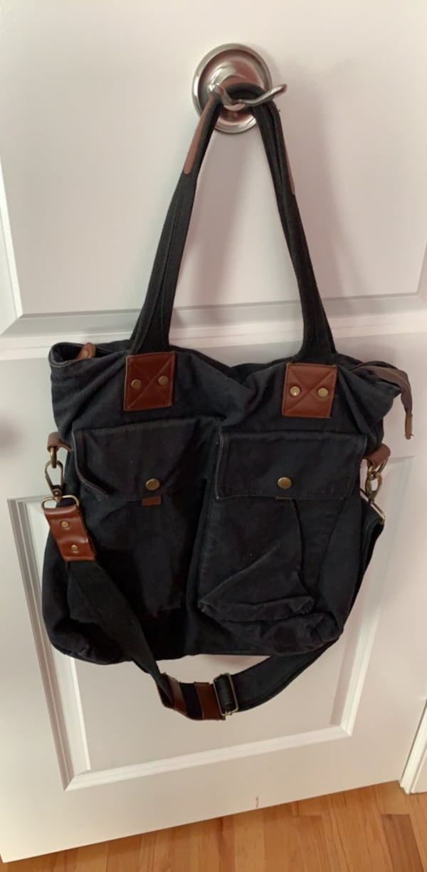 Black denim bag - great for school or work 7426f6c5-3e05-49dc-8e27-a5704cf10b31