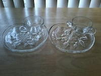 Set of six glass apple plates with glass cups.