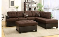 tufted brown suede sectional sofa Austin
