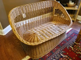 1970's Wicker Tub Settee / Loveseat (cushions opt)