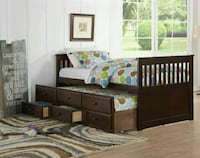 Espresso Full Captain Bed with Storage Drawers Twi Houston