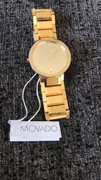 Movado Swiss Sapphire Gold-Tone Stainless Steel Bracelet Men's Watch Potomac