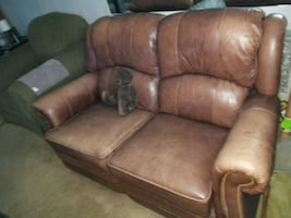 Brown leather couch sofa love seat recliner CHAIR