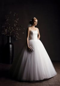 white floral tulle tube wedding gown