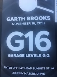$150 for all. 2 Garth Brooks tickets and G16 parking pass ($40 pass) Seymour