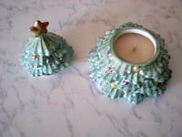 two green and white ceramic figurines 2054 mi