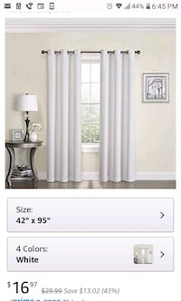 White blackout curtains. 4 panels total Hagerstown, 21740