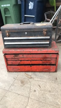 Vintage Snap On red toolbox and a black tool box Hawthorne, 90250
