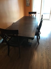 Wood 6 piece dining table with bench